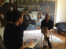 Alex Barnes '12 interviewing local Boston-area artist Robert T. Freeman in his Waltham studio.