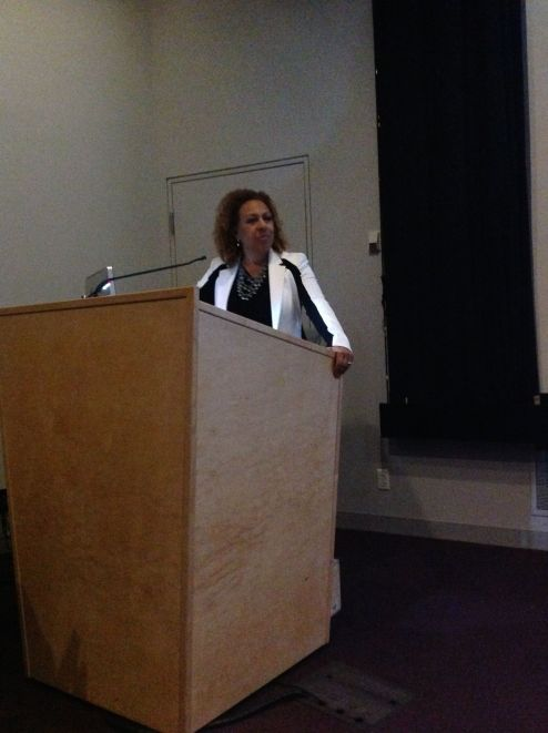 "Dr. Kellie Jones, ""Crisscrossing the World: Los Angeles Artists and the Global Imagination, 1960-1980."" October 2014. Photo by Nikki A. Greene."