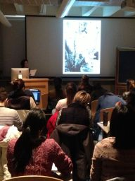 Elena Creef lecturing on photographs from Japanese Internment Camps