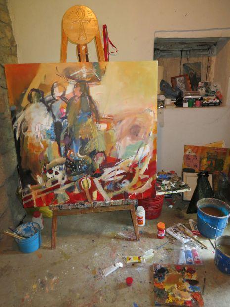 In the studio of Behailu Bezabih, January 2013. Photo by Nikki. A. Greene.