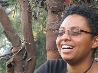 Director of Netsa Art Village, Artist and Poet, Mihret Kebede. Work by Netsa Art Village. Photo by Demissew Mersha.
