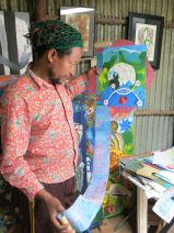 Tamrat Gezahegn, Exhibition Manager, with work. Netsa Art Village. Addis Ababa, Ethiopia. Photo by Nikki A. Greene.