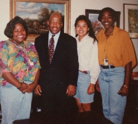 As a Smithsonian High School Intern, I had wonderful opportunities to expand my understanding of the world beyond the arts, including meeting Rep. John Lewis (GA) along with my fellow teenage interns (now, on the left, Judge Asha Jackson from Georgia and Principal Shawna Becenti from New Mexico). Summer 1993.
