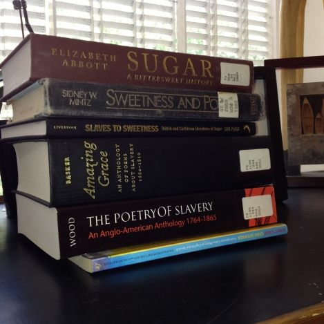 BOOKS on sugar and slavery to the rescue. Photo by Nikki A. Greene.