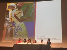Dr. Mary Schmidt Campbell, new president of Spelman College, discussing Romare Bearden. Photo by Nikki A. Greene.