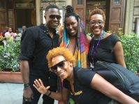 Renée Cox photobombs Sanford Biggers, Imani Uzuri & Nikki A. Greene. Odeon Theater. Florence
